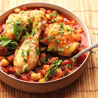 30-Minute Pressure Cooker Chicken With Chickpeas, Tomatoes, and Chorizo.