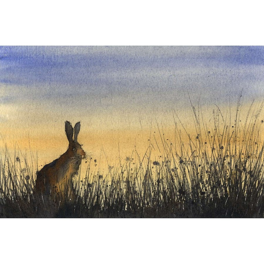 Hare rabbit art print from watercolour painting