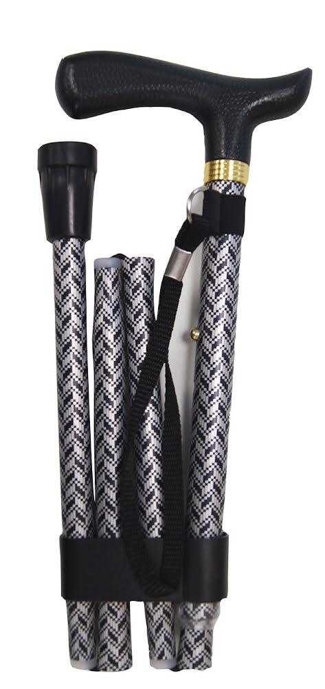 Hopfällbar käpp, svart/silver, handledsrem