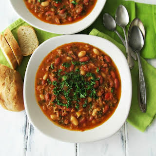 Chicken Andouille Soup with Beans and Kale.
