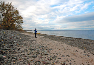 Photo: A man looks out over Lake Ontario in Pulaski, NY from his vantage point at Rainbow Shores.