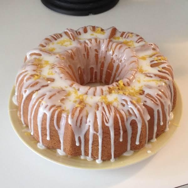 Tunnel Of Lemon Bundt Cake ~ I Garnished It With Grated Lemon Peel.