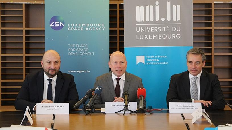 Etienne Schneider, Deputy Prime Minister and Minister of the Economy; St'ephane Pallage, Rector of the University of Luxembourg; Claude Meisch, Minister for Higher Education and Research (c) University of Luxembourg (Photo: Business Wire)