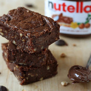 Nutella Brownies with Hazelnuts.