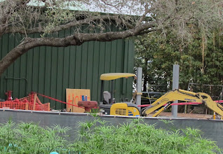 Photo: Some thing new is being installed behind the Great Goofini train storage barn. Not sure what this is. Perhaps part of the new queue?