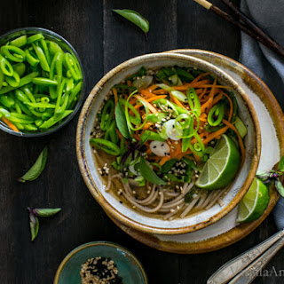 Ginger Miso Soba Noodle Bowls with Wakame.