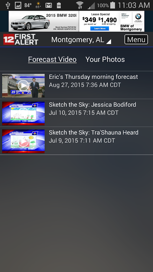 WSFA Doppler 12 Storm Vision- screenshot