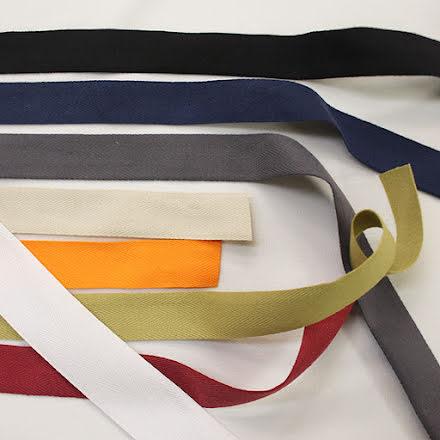 Kypertvävt Bomullsband 25mm - flera färger
