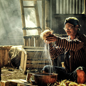 Coconut Seller  by Andreas Hie - People Portraits of Men ( senior citizen )