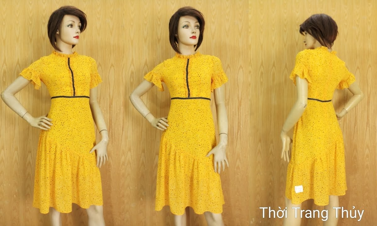 Váy xòe đuôi cá tay loe cổ bèo tông màu vàng V684 thời trang thủy