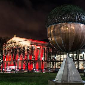 The Acorn by Thomas Shaw - City,  Street & Park  Night ( clouds, arts, art, windows, raleigh, acorn, north carolina, city, bronze, sky, red, tree, theatre, trees )
