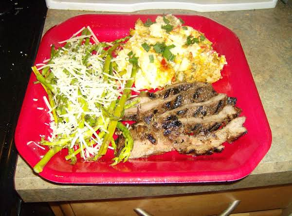 Margie's Party Potatoes With Grilled Marinated Flank Steak