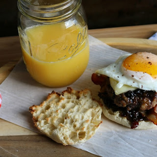 Wild Blueberry Glazed Breakfast Burger #SayItWithHomemade #BonneMaman Recipe