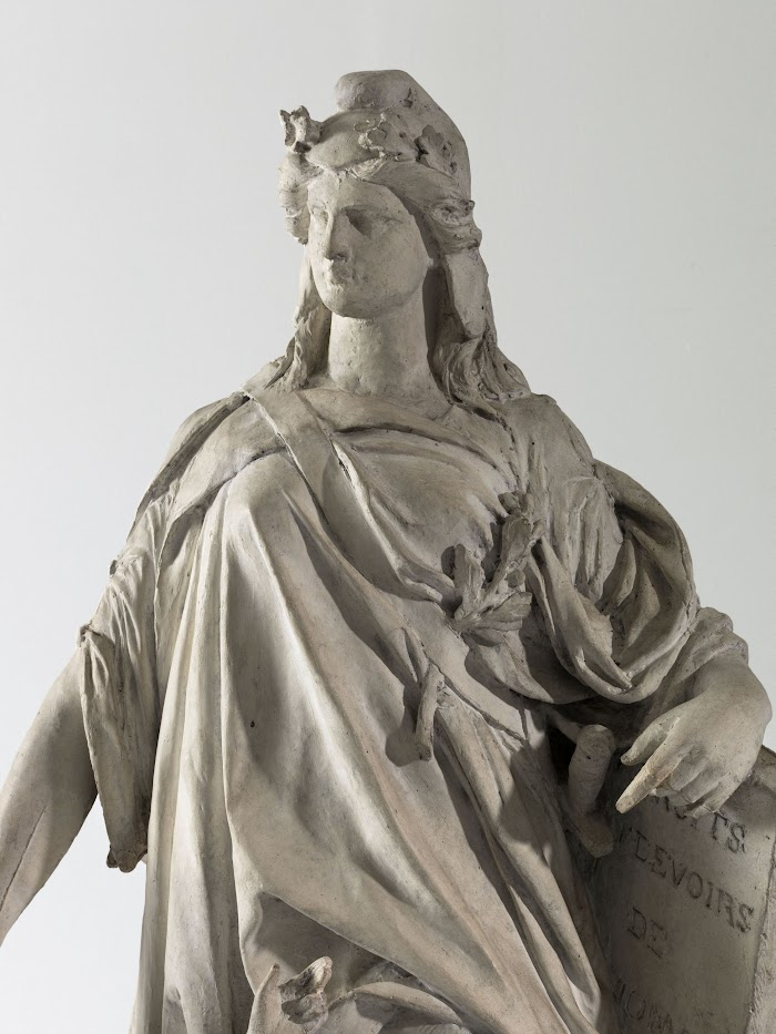 """Jean-François Soitoux, La République ôtant le voile à l'Ignorance, 1879 (Inscriptions sur la tablette : """"Droits, devoirs de l'homme)"""