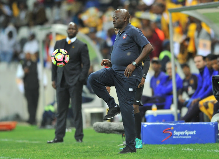 Dan Malesela, head coach of Mpumalanga-based TS Galaxy, shows off his skills during a match.