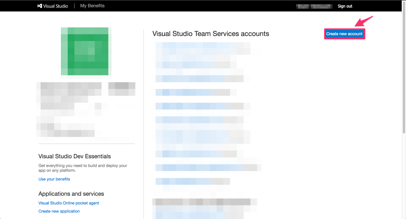 Visual Studio Team Services Account