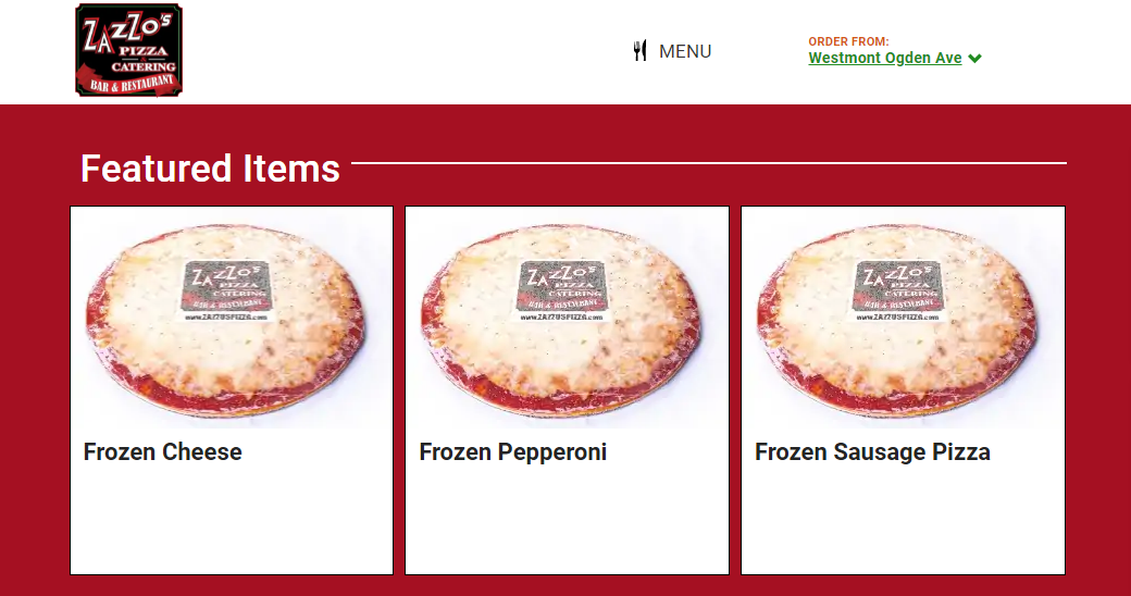 Feature cards with a list of frozen pizzas