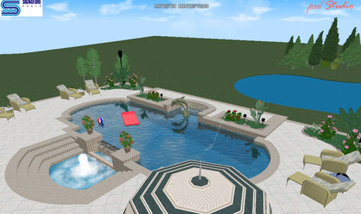 Photo: Consult with one of our Custom Pool Designers and experience how through the magic of our Pool StudioTM software one click of the mouse will transform an ordinary, flat rendering into an interactive, photorealistic, 3D environment!