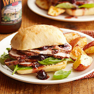 Braised Pork Sandwiches with Berry-Basil Sauce.