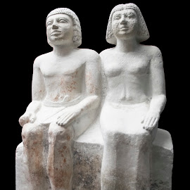 Sitting group statue of a married couple from Egypt by Lajos E - Artistic Objects Antiques ( old, egyptian, stone, egypt, human, history, statue, ancient, married, sitting, woman, couple, historical, man,  )