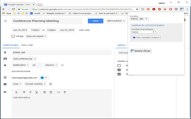 25Live Google Calendar Extension