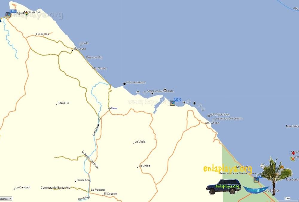 Mapa de Playas del Sector Maracara