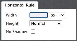 Horizonal rule options dialog box