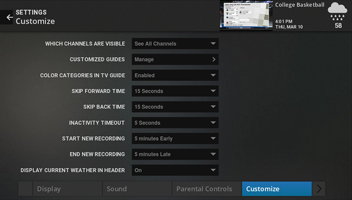 Customize settings on legacy Google Fiber TV