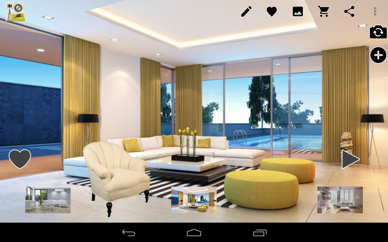 Virtual home decor design tool android apps on google play for Room design 3d app