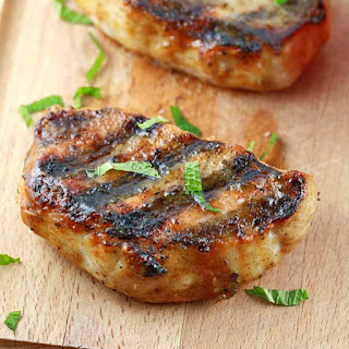 Grilled Pork Chops with Honey Mustard Glaze.