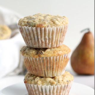 Upside Down Pear Muesli Muffins