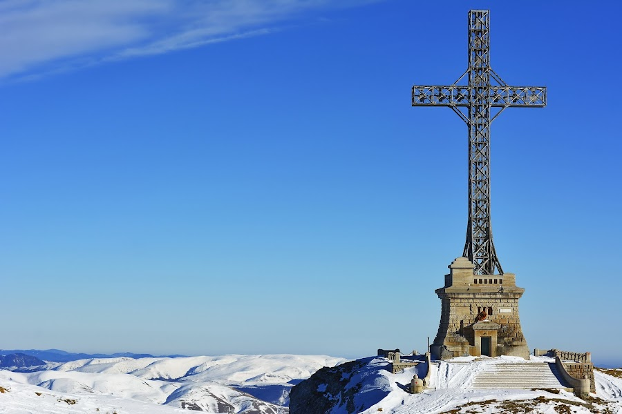 The Heroes Cross alt. 2291 m by Sorin Lazar Photography - Buildings & Architecture Public & Historical ( old, colors, altitude, architecture, steel, mountains, blue sky, nature, cold, snow, monument, historical, cross )