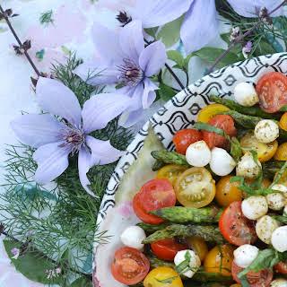 Grilled Asparagus Summer Caprese Salad.