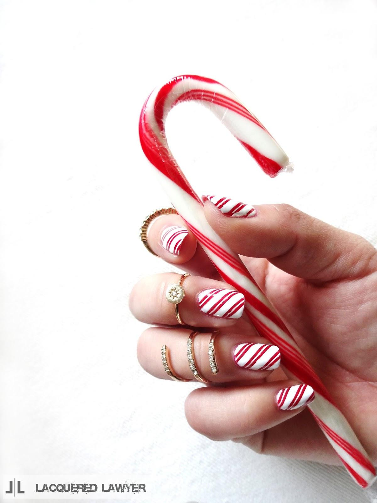 Red & white striped candy cane nails