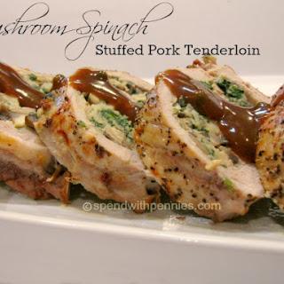 Mushroom Spinach Stuffed Pork Tenderloin.