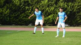 Jugadores celestes en el partido disputado ante el San Fernando en El Ejido.