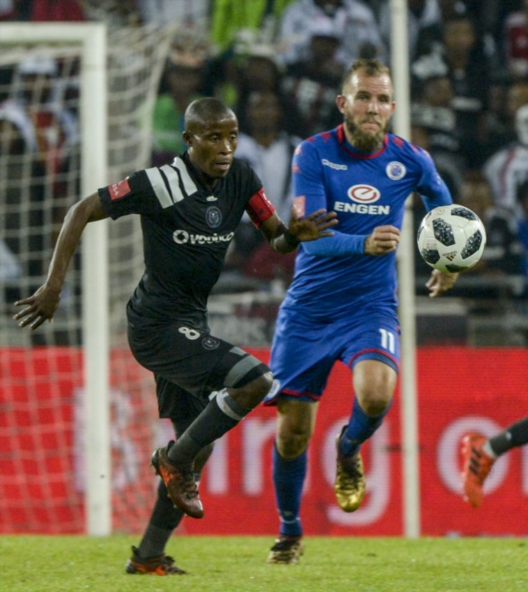 Captain Thabo Matlaba of Orlando Pirates and Jeremy Brockie of Supersport United during the Absa Premiership match between Orlando Pirates and SuperSport United at Orlando Stadium on December 05, 2017 in Johannesburg.
