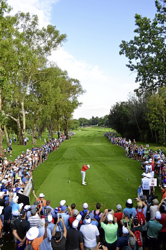 Scenic setting: World No2 Rory McIlroy tees off at the SA Open's par four 12th hole at Glendower Golf Club on Thursday morning. Picture: MICHAEL SHERMAN