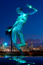 Photo: Bliss Dance Treasure Island, San Francisco  This sculpture was at Burning Man in 2010. I'm glad I finally got to see it in person. Visitors can download an iphone app and change the light colors in many different ways, but my favorite was the teal.