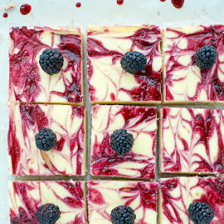 Blackberry Cheesecake Bars With Shortbread Crust.