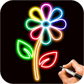 Learn How To Draw Glow Flowers Step by Step