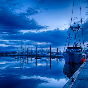 Before sunrise at Neah Bay by GThomas Muir - Landscapes Waterscapes ( neah bay, boats, reflections, ocean, sunrise, seascape )