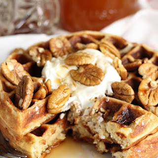 Honey Oat Waffles with Yogurt and Pecans