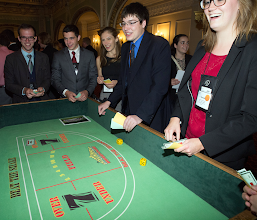 Photo: Students gather for the casino social on Saturday night.