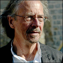 Photo: Pristina, SERBIA AND MONTENEGRO: Austrian author Peter Handke visits the Serb Orthodox Church of Sveti Stefan in the village of Velika Hoca, some 60km west from Pristina, 08 April 2007. Handke visited Kosovo where he donated 50,000 euros to the people of Serbian enclave Velica Hoca.     AFP PHOTO / STR (Photo credit should read STR/AFP/Getty Images)ʱ