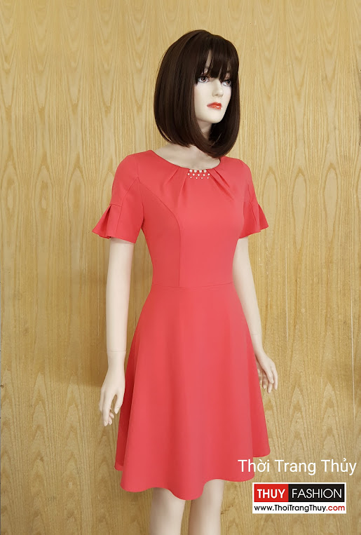 Váy xòe cổ xếp ly đính hạt S001 - Thời Trang Thủy Bán sẵn