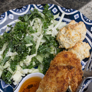 Buttermilk Fried Chicken with Kale-Cabbage Slaw & Biscuits