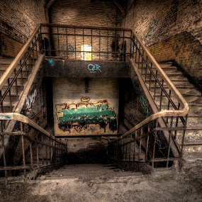 Chartreusse by Frank Quax - Buildings & Architecture Decaying & Abandoned ( stairs, decay, details, graffiti, fort, abandoned, staircase, urbex, building )