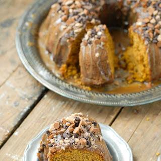 Pumpkin Spice Buttermilk Bundt Cake with Dark Salted Caramel Glaze