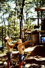 Photo: Josh and Ryan feeding the birds.